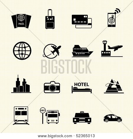 Travel icons set on texture background