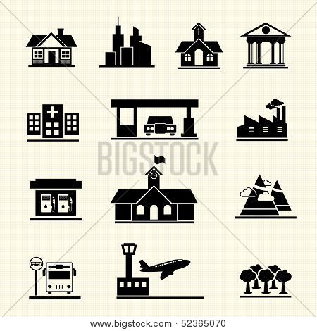 Vector icons set of places.