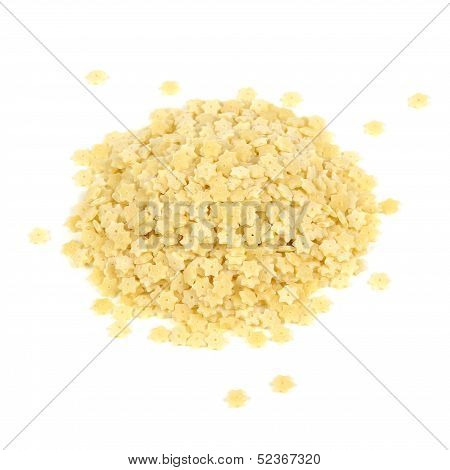 Pile Of Star-shaped Stelle Pasta Isolated On White Background