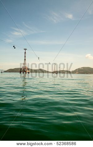 Vietnam. View of the cable car over the sea. Near the town of Danang, and Water Park Vinpearl Land.