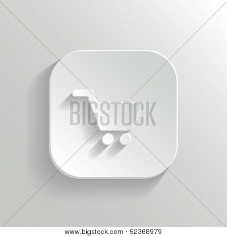 Shopping Cart Icon - Vector White App Button