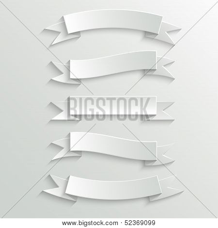 White Paper Banners And Ribbons