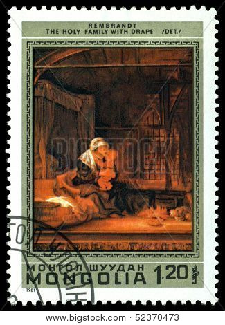 Vintage  Postage Stamp.  Rembrandt.  Holy Family With  Drape.