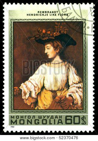 Vintage  Postage Stamp.  Rembrandt. Hendrik Like Flora.