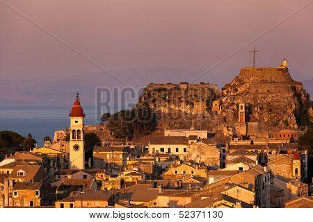 Kerkyra Town In Corfu At Sunset
