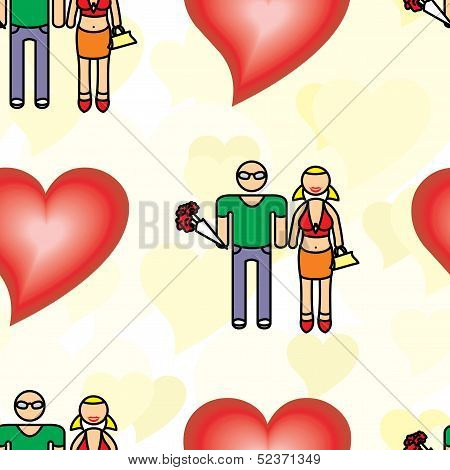 seamless pattern with a man and a woman with a bouquet of flowers