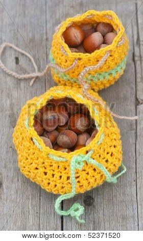 Crocheted Bag With Hazelnut