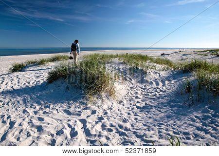 White Sandy Beach On Bornholm