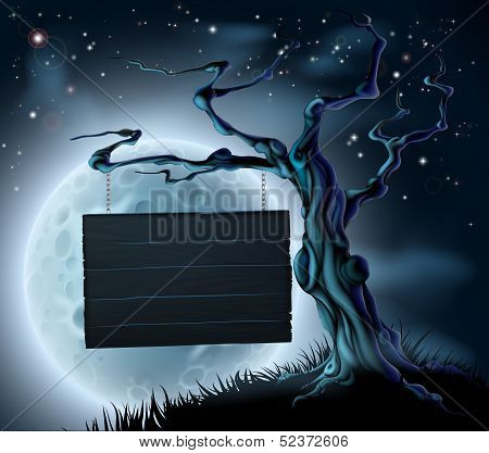 Halloween Wooden Sign Background