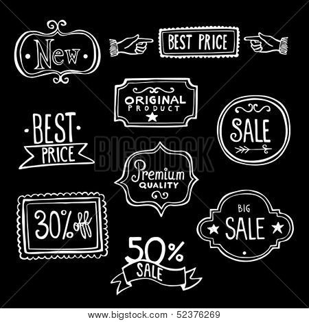 Collection of vintage hand-drawn doodles representing sales labels