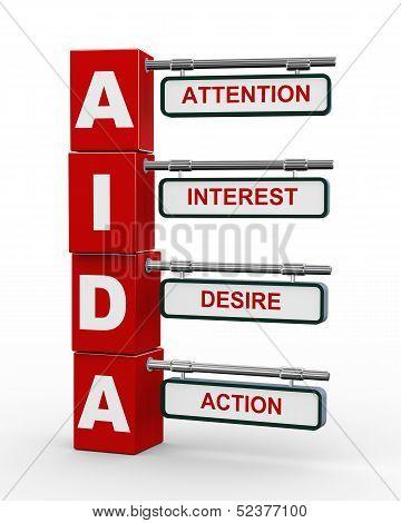 3D Modern Signboard Of Aida