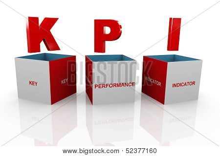 3D Box Of Kpi - Key Performance Indicator