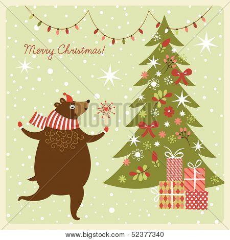 Christmas card, funny bear dance