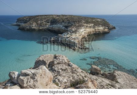 rabbit island beach in lampedusa