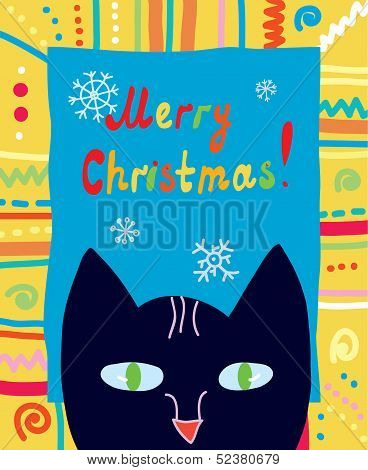 Christmas card with cat and frame