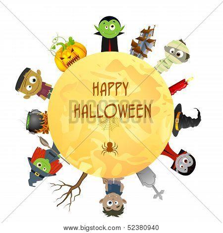 Creepy character wishing Happy Halloween