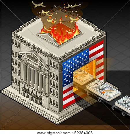 Isometric Stock Exchange Burning Dollars