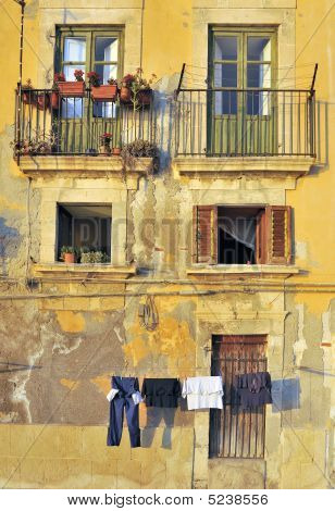 Washing Hanging In Italian Street