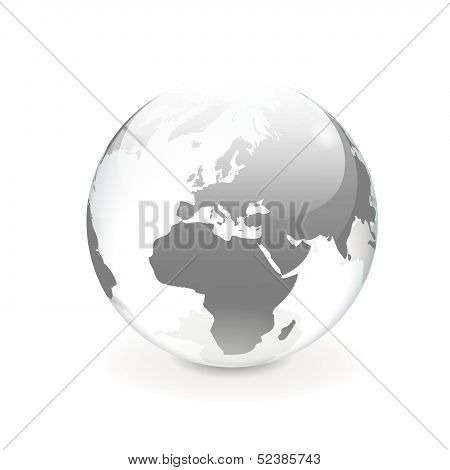 White Gray Vector World Globe - Europe