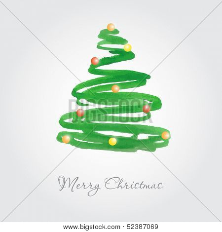 Christmas card with watercolor painted fir tree with multicolored balls