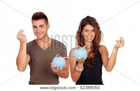 Young couple saving for their future life