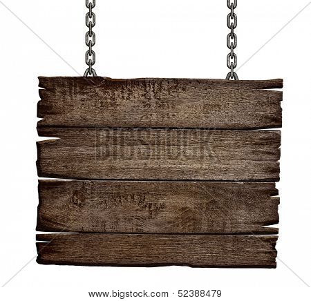 old wood sign board on chain