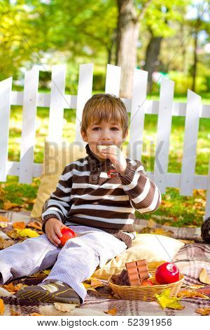 Little Boy Eating Chocolate In The Autumn Forest