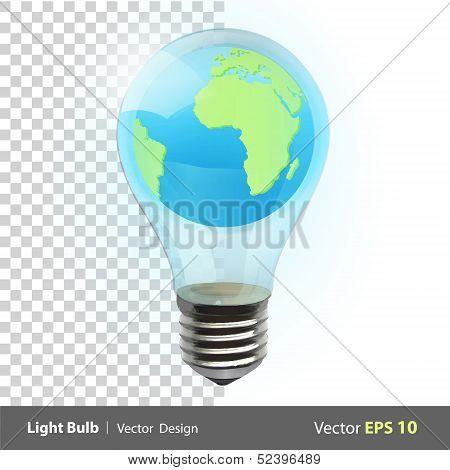 Eco Light Bulb With World Inside. Vector Background Illustration.