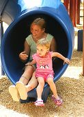 pic of mother daughter  - mother and daughter on the slide - JPG