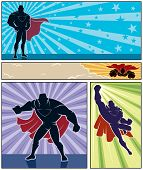 stock photo of mantle  - Set of 4 superhero banners - JPG