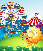 image of hilltop  - Illustration of an amusement park at the hilltop with an orange monster - JPG