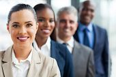 stock photo of multicultural  - group of successful business team standing in a row - JPG