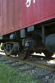 picture of caboose  - rear wheels of old caboose - JPG