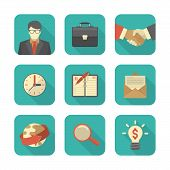 Modern Flat Business Icons Set
