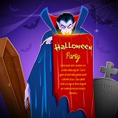stock photo of dracula  - illustration of Dracula in graveyard in Halloween night - JPG