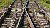 Modern Railroad Junction Perspective. Transportation Photo Background