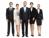 Full-length portrait of group of business people, isolated on white. Concept of teamwork and coopera