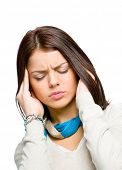 Youngster with eyes closed puts hands on head because of headache or unsolvable problems, isolated on white poster