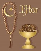 image of prayer beads  - an illustration of an iftar greeting card with dates prayer beads and gold lettering on a brown background - JPG