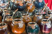 stock photo of gaucho  - A selection of calabash mate cups seen in Argentina - JPG