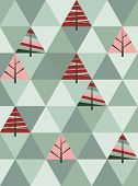 retro pattern of geometric shapes with trees. mosaic christmas.