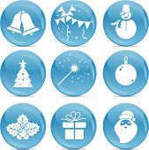 Chrismas Icons On Blue Balls