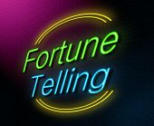 stock photo of unexplained  - Illustration depicting an illuminated neon sign with a fortune teller concept - JPG