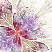Beautiful Fractal Flower In Beige, Violet And Red. Computer Generated Graphics.