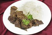 picture of liver fry  - Mutton liver fried with onion and indian spices to make a traditional Kerala  - JPG