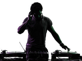 stock photo of disc jockey  - one disc jockey man in silhouette  on white background - JPG