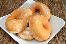 picture of graff  - sweet donut fried typical nepolitan food called graffe - JPG