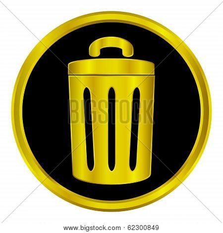 Gold Garbage Sign Button