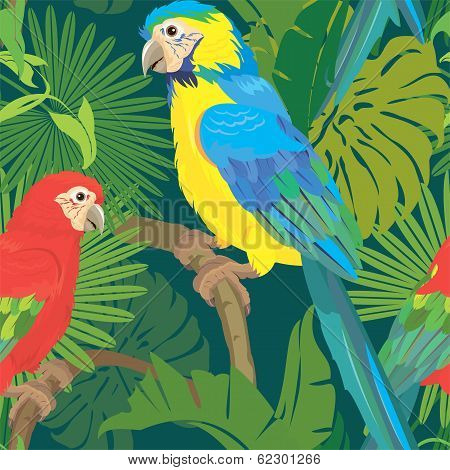 Seamless Pattern With Palm Trees Leaves And Blue Yellow And Red Blue Macaw Parrots. Ready To Use As