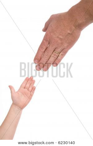 Man Reaching For Childs Hand